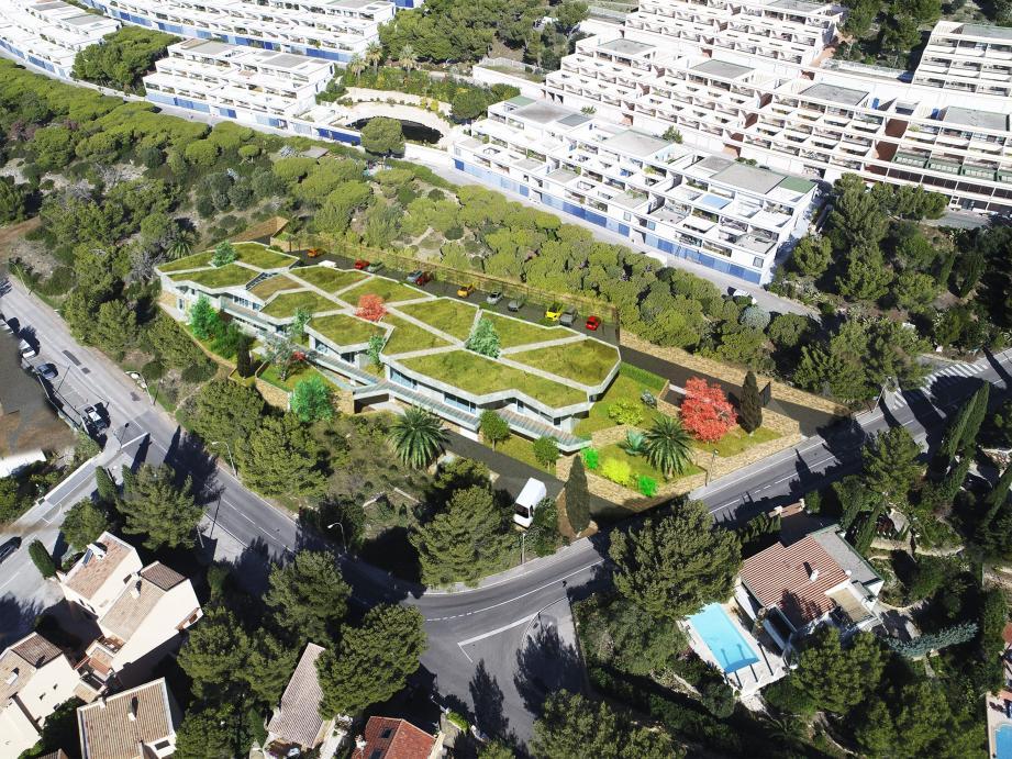 Des plans du nouveau centre situé sous la copropriété des Katikias et dont la toiture sera complètement végétalisée, ont été dévoilés aux Bandolais. (Perspective DR)