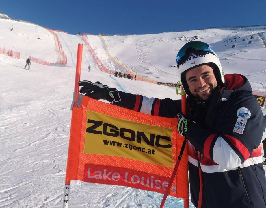 Matthieu Bailet, ici à l'entraînement à Lake Louise hier, compte bien faire briller les couleurs de Nice Côte d'Azur au plus haut niveau.(DR)