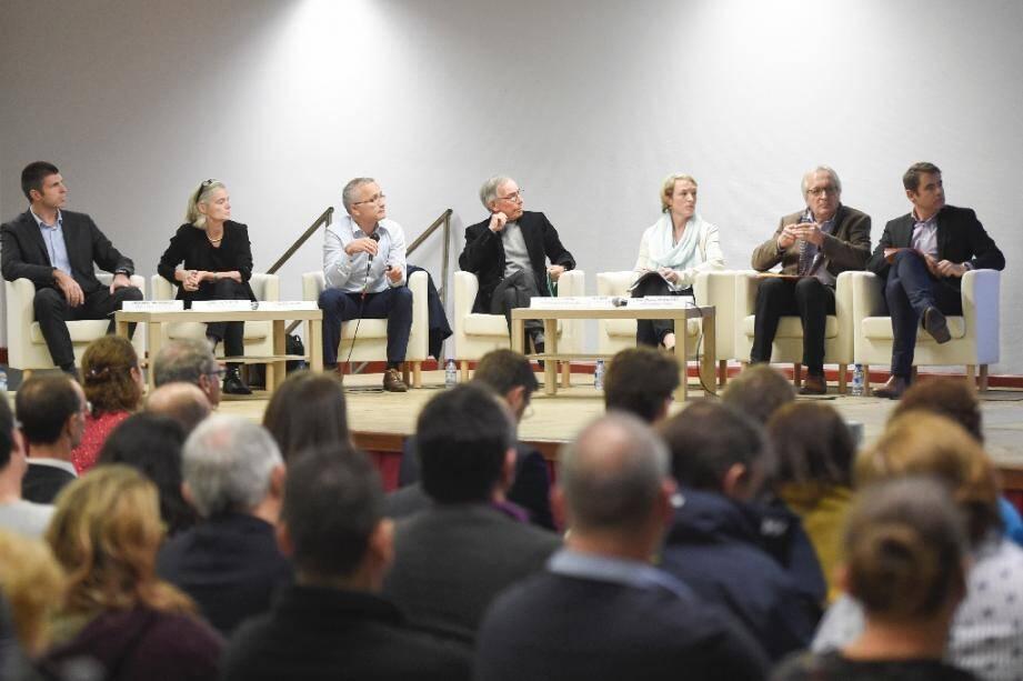 Des experts présentent devant près de 400 personnes les conclusions de leur enquête sur les cancers pédiatriques à Sainte-Pazanne (Loire-Atlantique) le 25 novembre 2019