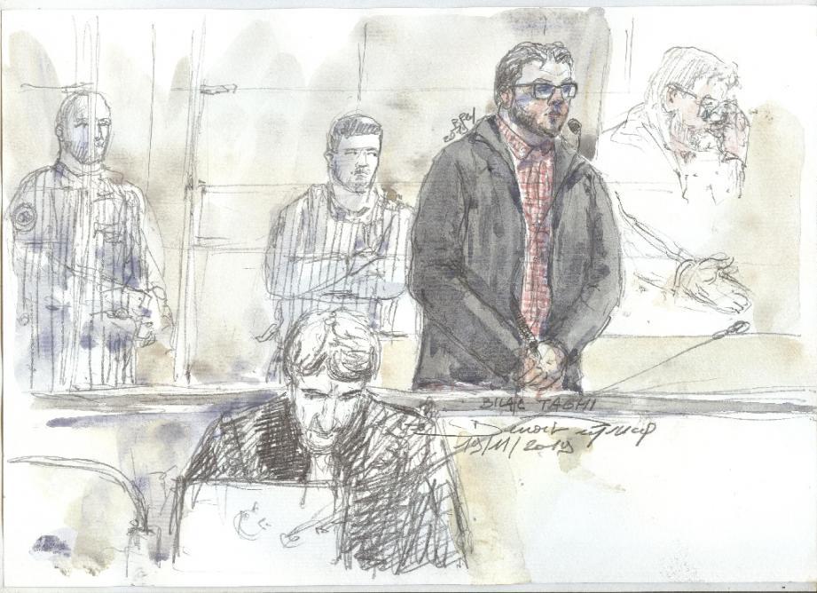 Croquis d'audience montrant le détenu radicalisé Bilal Taghi jugé à Paris le 19 novembre 2019 pour avoir tenté de tuer un gardien