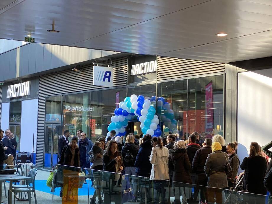 L'inauguration du premier magasin Action de la Côte d'Azur, à Nice  ce jeudi matin.