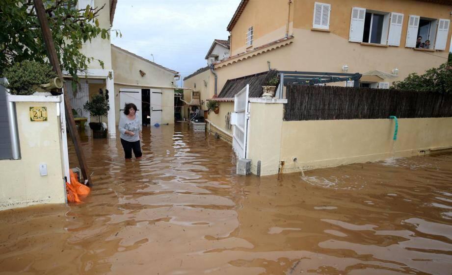 Inondation dans le quartier de l'Aygade à Hyères.