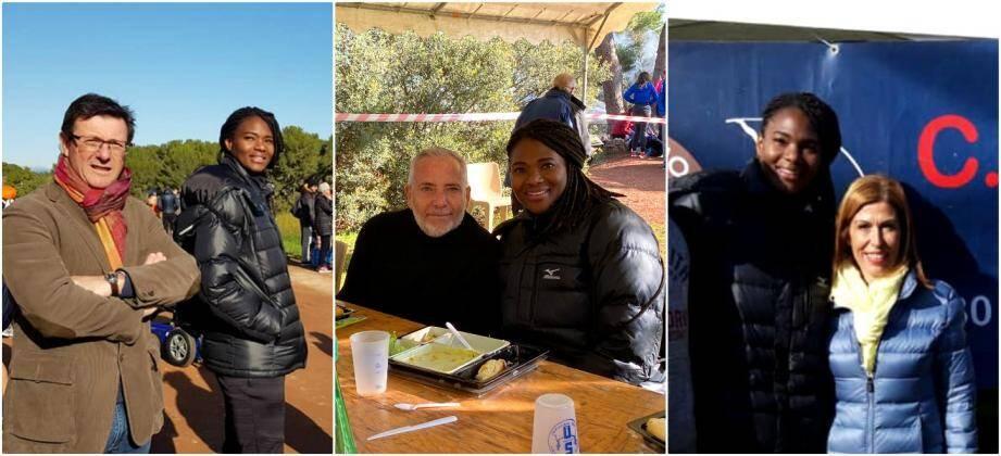 La championne Muriel Hurtis Muriel Hurtis s'est retrouvée à poser aux côtés de Serge Daninos, Jean-Pierre Colin (soutien de Nathalie Bicais) et Sandra Torres!