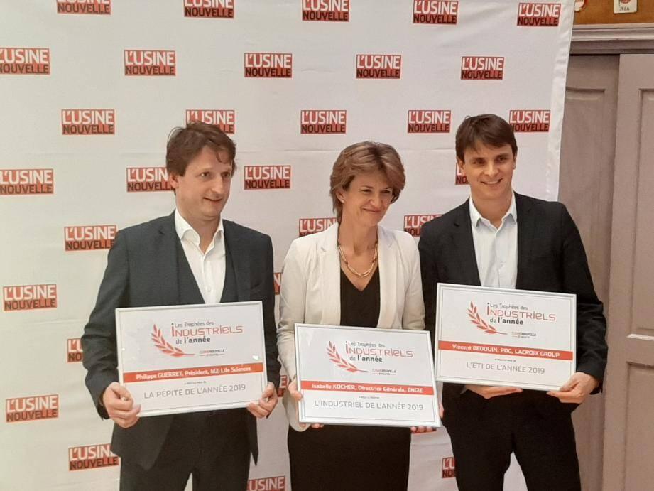 Les trois lauréats de cette 10e édition des Assises de l'Industrie 2019: Vincent Bedouin, aux côtés de Philippe Guerret, dirigeant de M2i  Life Sciences (Pépite de l'année), et  d'Isabelle Kocher, directrice générale, Engie (Industriel de l'année).