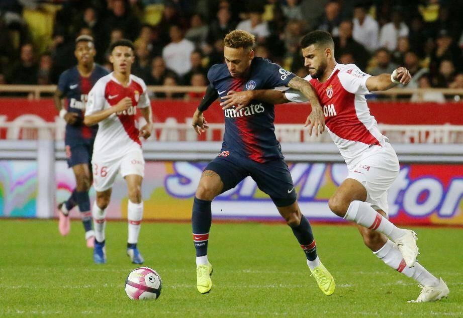 Neymar lors du dernier déplacement du PSG au stade Louis-II.
