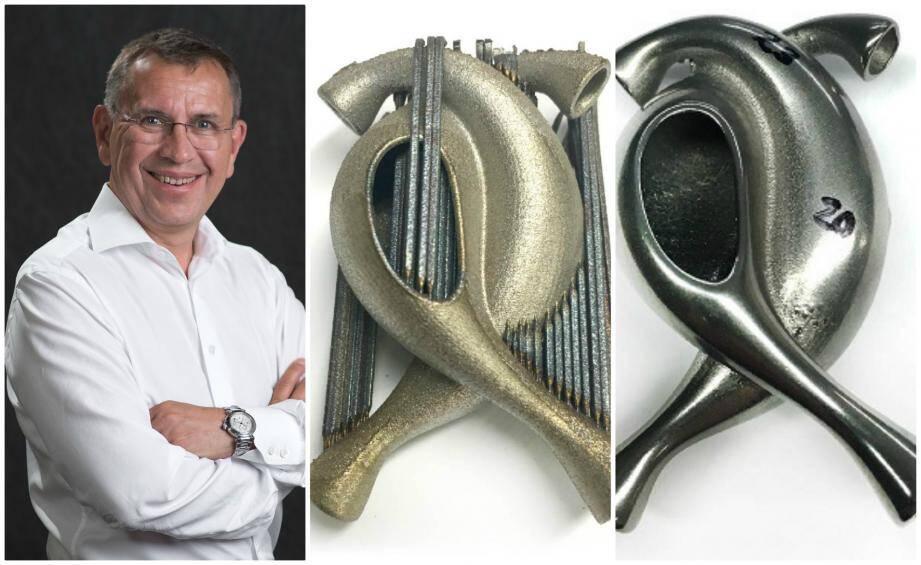 Bruno Bourguet dirige depuis un an PostProcess Technologies International basé à Sophia Antipolis. Ses solutions de traitement post-impression permettent de fournir des pièces imprimées 3D prêtes à l'emploi comme le montre ces photos d'avant et après.