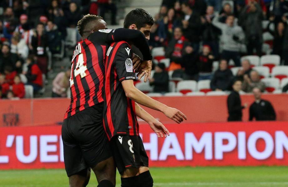 l'OGC Nice qui mène au score à l'Allianz Riviera (1-0), ce vendredi 8 novembre, contre Bordeaux.