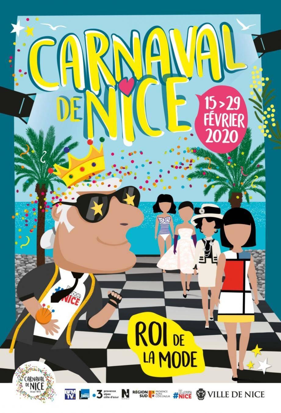 L'affiche du carnaval 2020 : un hommage au grand couturier que fut Karl Lagerfeld.(DR)