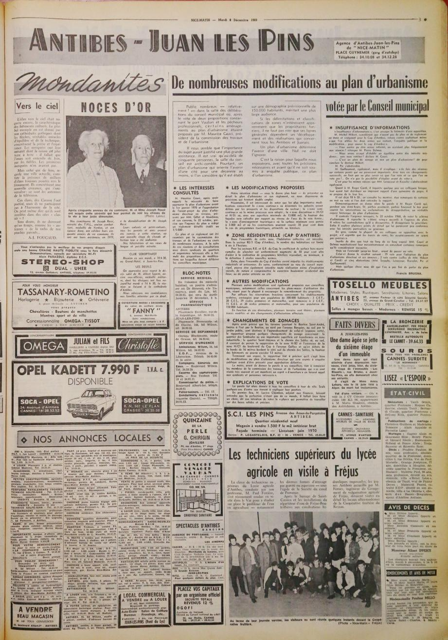 Dans la page de Nice-Matin Antibes du 9 décembre 1969.(DR)