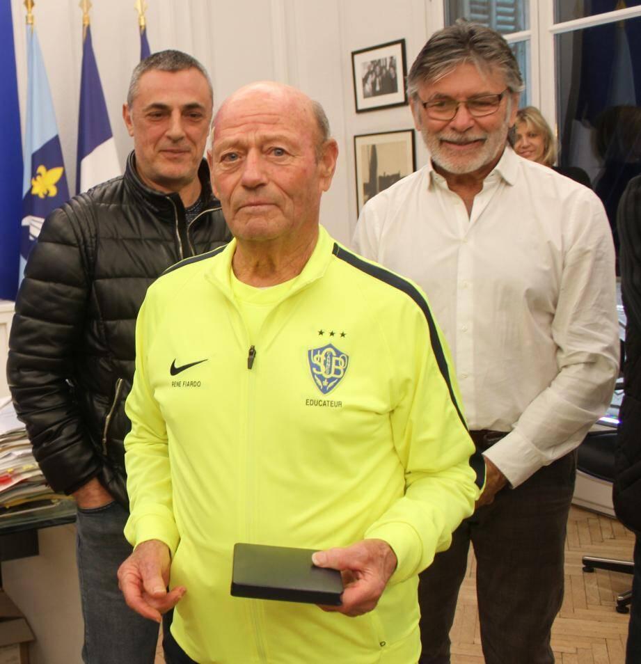 Patrick Angelo (président USCBO), René Fiardo et Jean-Marc Chiappini (ancien président).