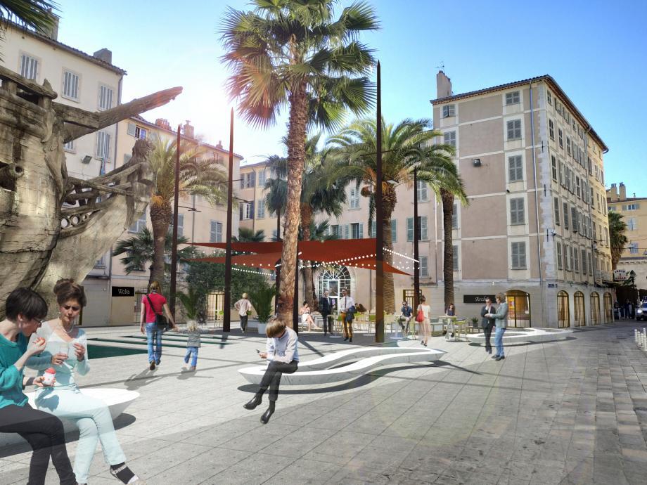 Trente ans après son aménagement, la place Vatel avec son futur bassin miroir reflétant la proue de la réplique de la frégate La Flore changera de physionomie avant l'été 2020.