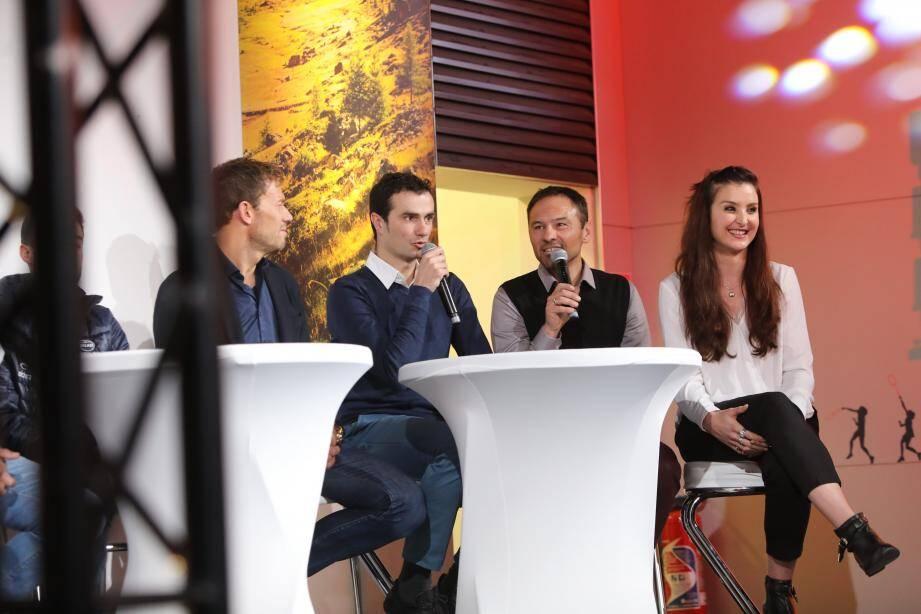 Thor Hushovd, le parrain de la course, Christophe Menei, Laurent Elleon et Manon Testou, les organisateurs.
