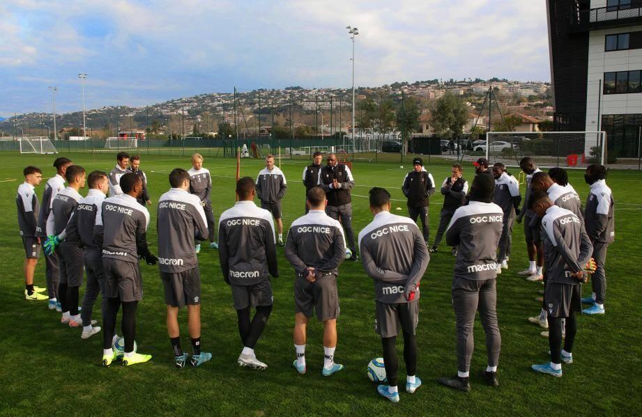 Les Niçois s'entraîneront deux fois aujourd'hui et une fois demain avant de reprendre le 2 janvier.