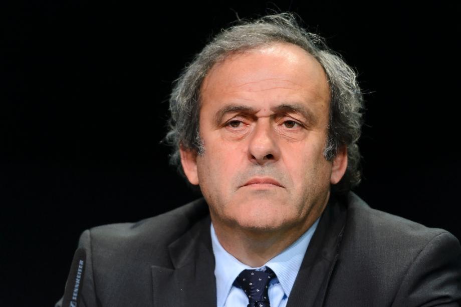 Michel Platini, alors président de l'UEFA, lors d'une conférence de presse le 28 mai 2015