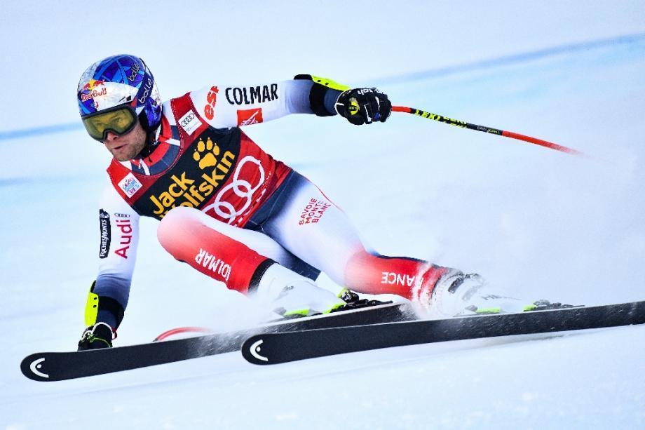 Alexis Pinturault lors du super-G du combiné de Bormio comptant pour la Coupe du monde de ski alpin, le 29 décembre à Bormio (Italie)