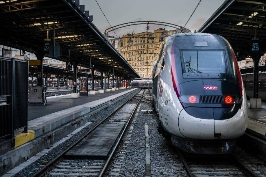 Un TGV à quai, gare de l'Est à Paris, durant le mouvement de grève à la SNCF, le 13 décembre 2019