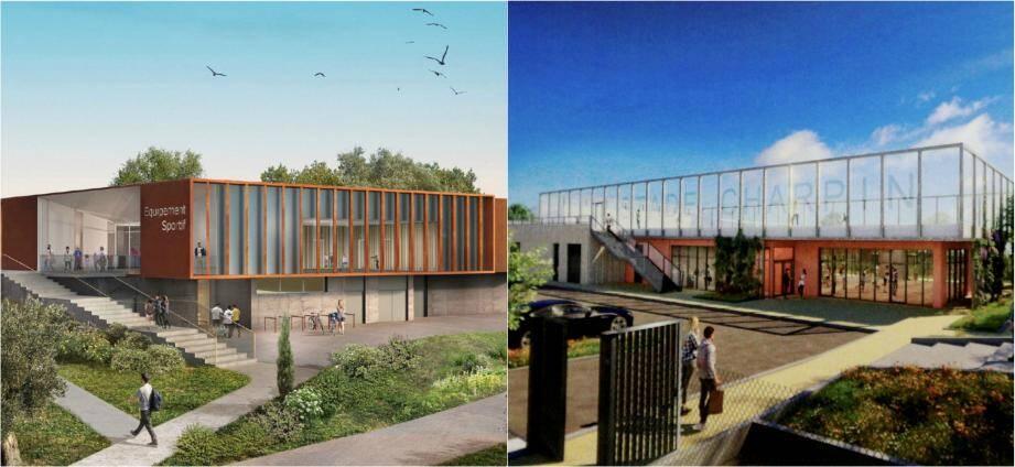 A gauche, une vue du futur équipement sportif dans le stade Auvergne. Au nord de la ville, Les travaux du futur complexe sportif des Semboules, qui doivent débuter en septembre 2020, devraient être terminés en septembre 2021.