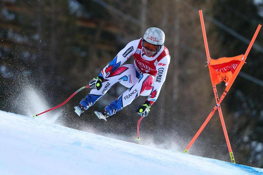 Le Niçois Matthieu Bailet a fait le show.  ©ANDREA SOLERO/EPA/MAXPPP - epa07251741 Matthieu Bailet of France speeds down the slope during the Men's Downhill race at the FIS Alpine Skiing World Cup event in Bormio, Italy, 28 December 2018. EPA-EFE/ANDREA SOLERO ITALY ALPINE SKIING WORLD CUP