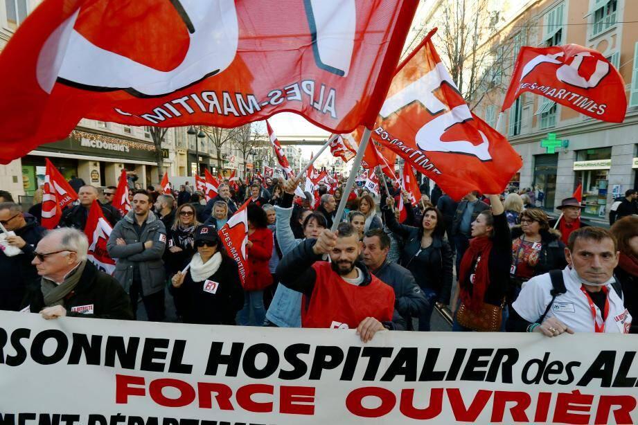 Manifestation contre la réforme des retraites à Nice.