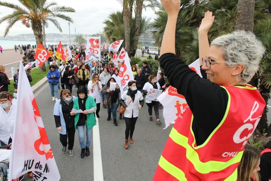 Manifestation unitaire à Nice contre la réforme des retraites.