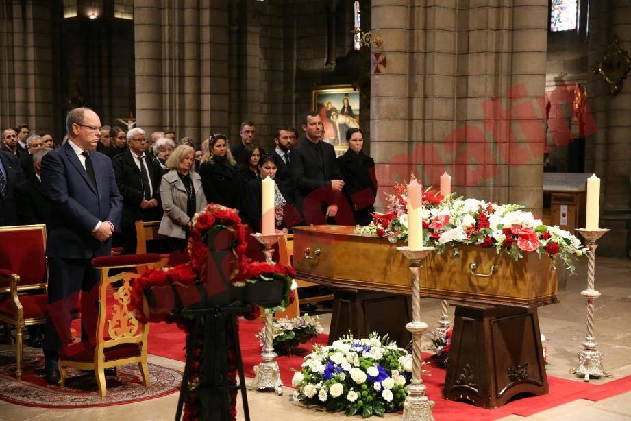 Cérémonie d'hommage à Henri Biancheri, ancienne figure de l'AS Monaco (disparue le 1er décembre 2019) à la cathédrale de Monaco en présence du prince Albert de Monaco.