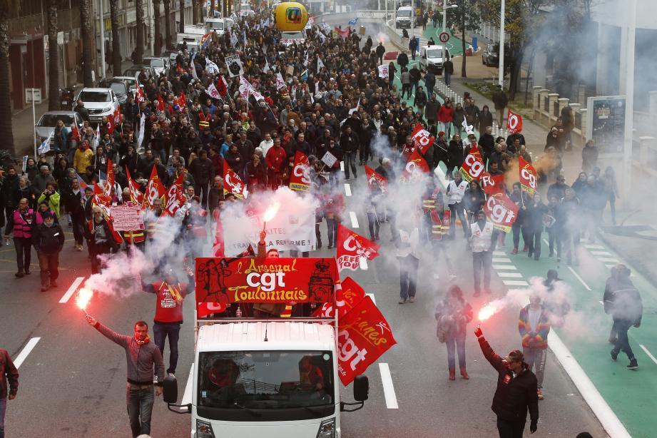 Manifestation contre la réforme des retraites, le mardi 17 décembre, à Toulon.