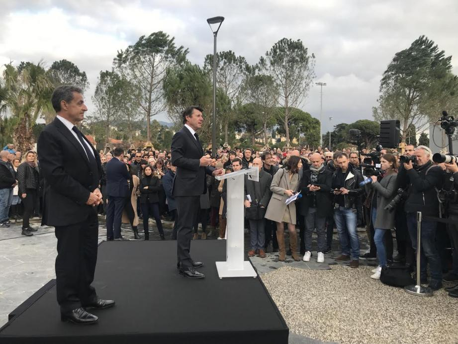 Nicolas Sarkozy et Christian Estrosi à l'inauguration du parc du Ray ce lundi.