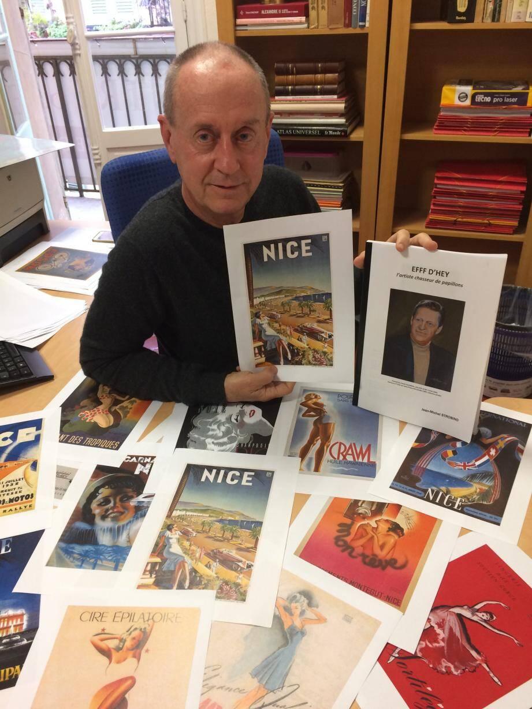 Des tas d'affiches magnifiques, à la gloire de Nice, de la Côte d'Azur, des corps longs et musclés. Et au milieu, Jean-Michel Strobino, auteur d'une monographie inédite en quête d'éditeur.