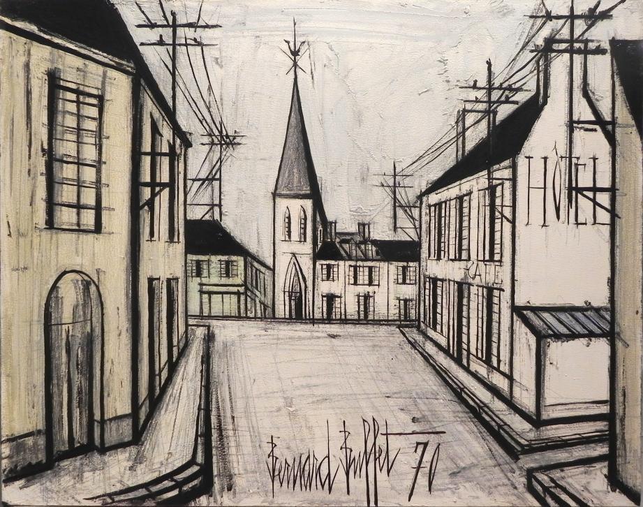 115.600€ pour la vente de Rue de Village, 70, huile de Bernard Buffet.