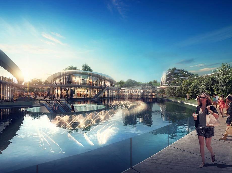 Le projet Open Sky - 100 000 m2 d'hôtellerie, restauration, bureaux, parkings souterrains et surfaces commerciales - s'avère clairement être un enjeu électoral pour Valbonne. (DR)