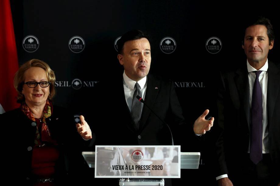 Le président du Conseil national Stéphane Valeri, avec sa vice-présidente Brigitte Boccone-Pagès et son président de la commission Finances et Économie nationale Balthazar Seydoux.