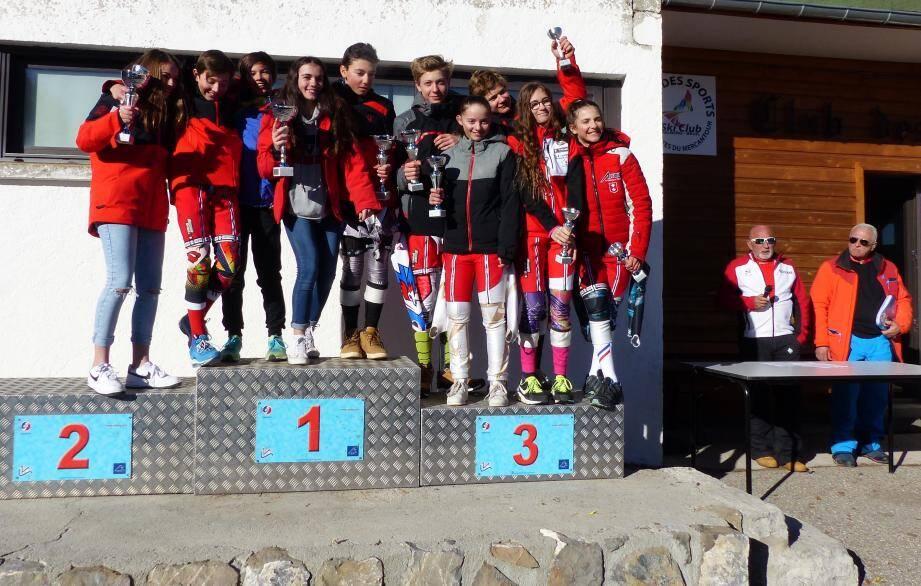 Le podium U14 filles et garçons à Valberg. (Ph. DR)