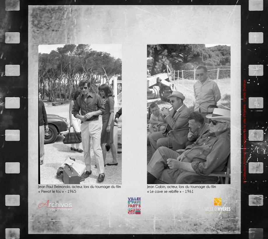 À droite, Jean Gabin sur le tournage en 1961 de Le Cave se rebiffe notamment tourné sur l'hippodrome avec Bernard Blier sur des dialogues de Michel Audiard. À gauche, Jean-Paul Belmondo et Anna Karinapour Pierrot le Fou (1965).