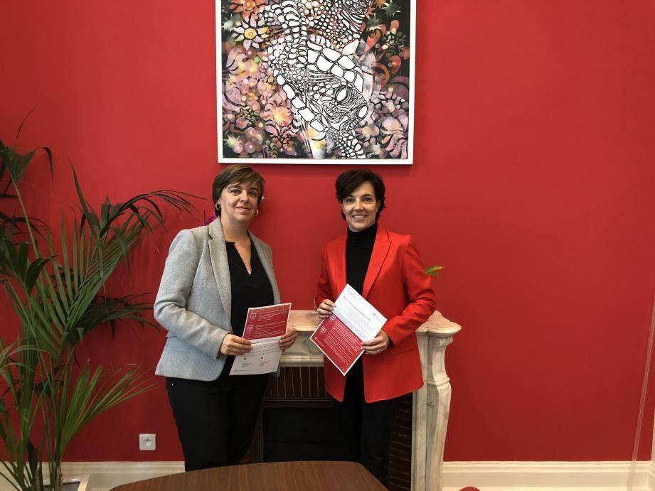 Sophie Vincent, directrice de l'Imsee, et Céline Cottalorda, déléguée interministérielle pour la promotion et la protection des droits des femmes.