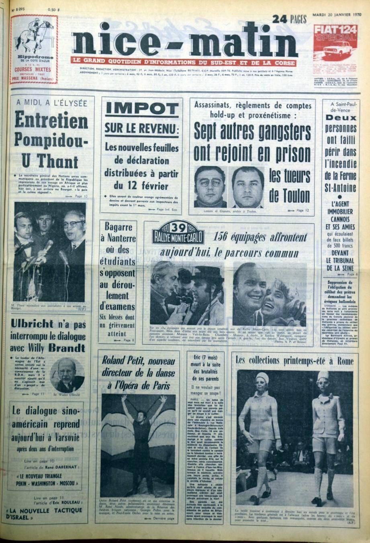 À la « Une » de Nice-Matin du 20 janvier 1970.(Repro DR)