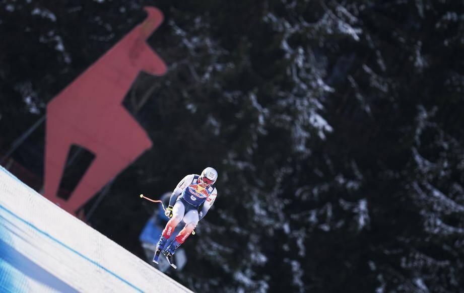 Matthieu Bailet a testé la piste de Kitzbühel à l'entraînement, hier sur la descente.
