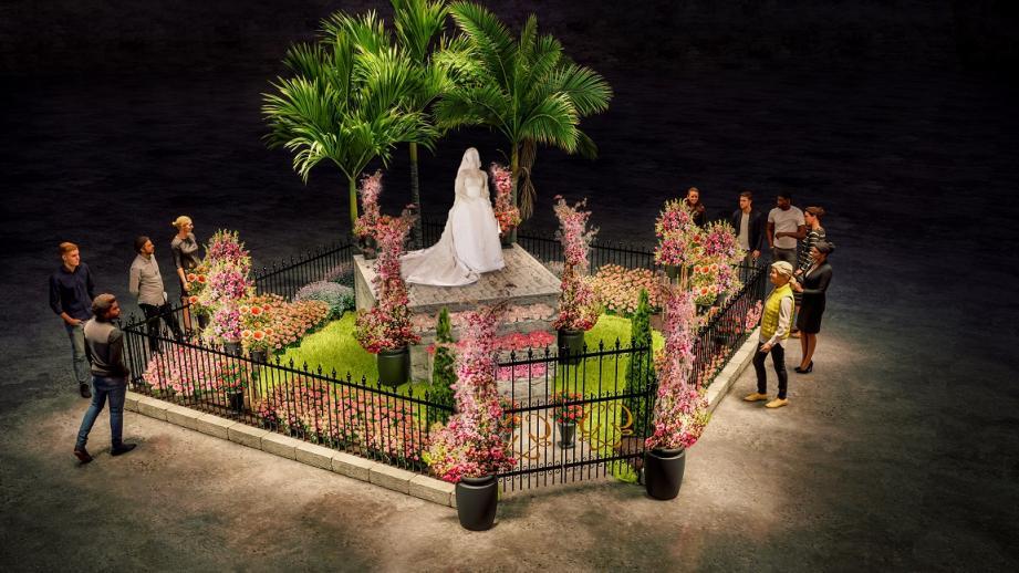 Un parterre de roses autour de la réplique de la robe de mariée de la Princesse-Grace, créé par Renee Tucchi.(DR)