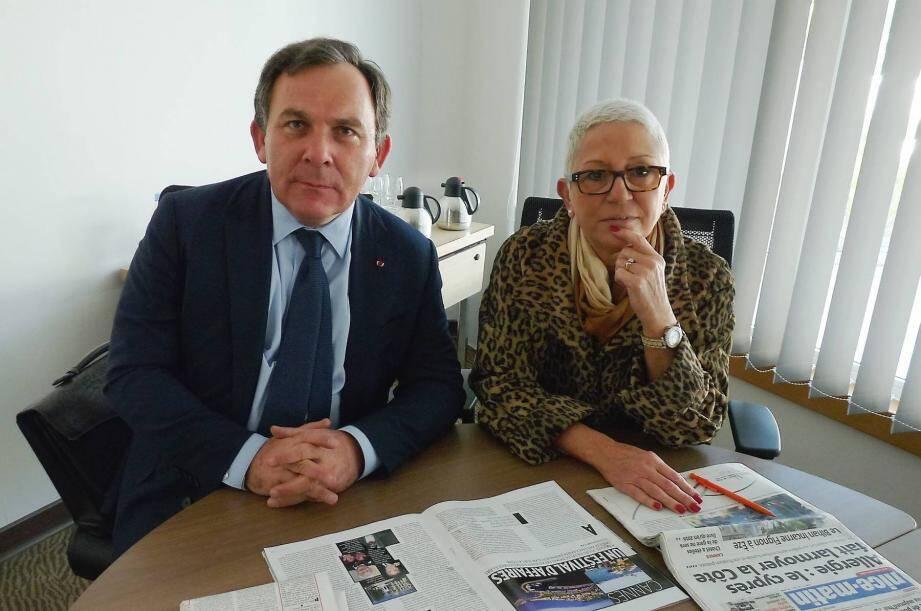 Francis Szpiner (à gauche) et Philippe Soussi (à droite). Ce dernier,  avocat niçois, remet les pendules à l'heure