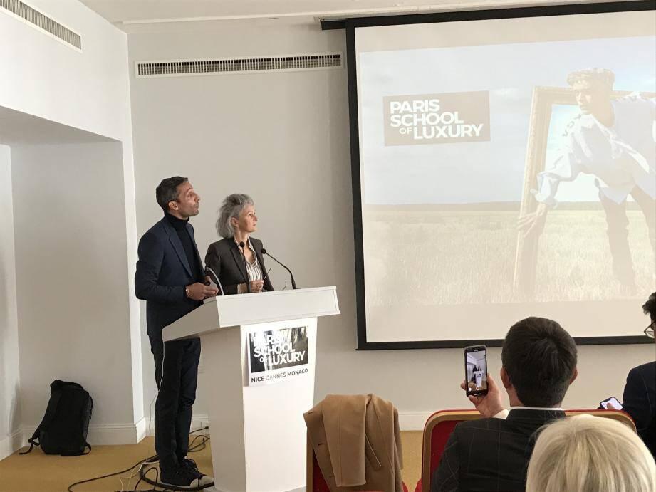 Pierre Kalaijian, directeur de Paris School of luxury et Anne-Marie Pecorino, directrice pédagogique de Mediaschool ont dévoilé le contenu de cette nouvelle formation.