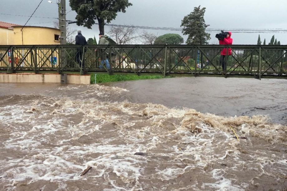 La rivière Massane est sorti de son lit, sous l'effet de la tempête Gloria, le 22 janvier 2020 à Argelès-sur-Mer