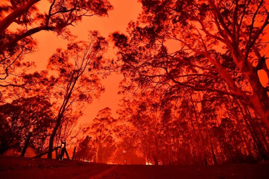 Le ciel de l'après-midi rouge à cause des feux de brousse dans la zone autour de la ville de Nowra dans l'état australien de la Nouvelle-Galles du Sud, le 31 décembre 2019