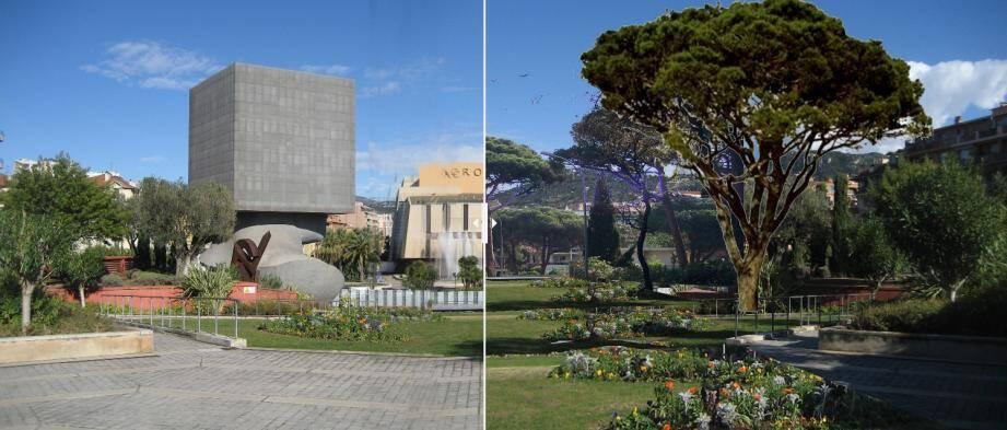 Le parvis de l'Acropolis, avant et après la réalisation du projet de Christian Estrosi.