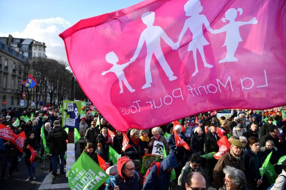 Manifestation contre la PMA, le 19 janvier 2020 à Paris