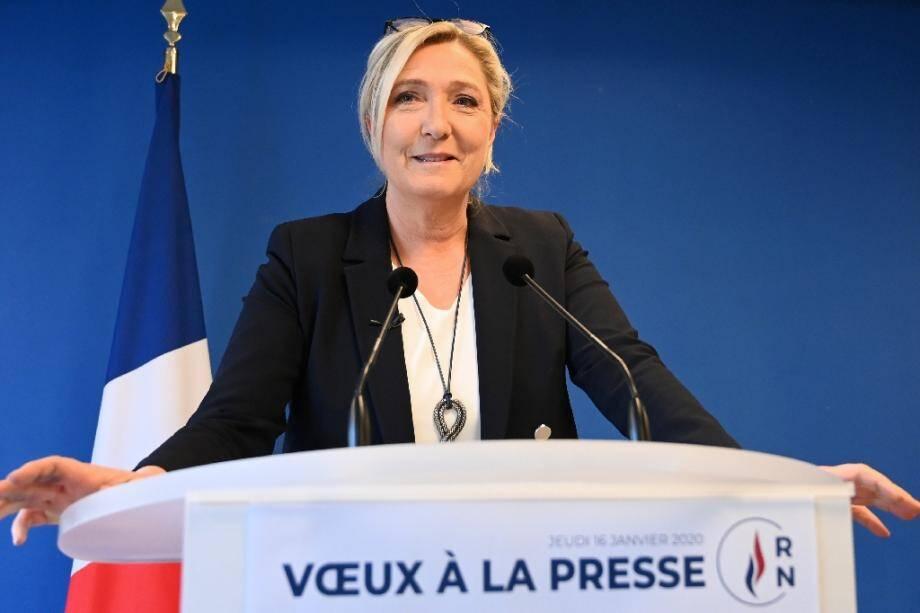 Marine Le Pen, présidente du RN, présente ses vœux à la presse, le 16 janvier 2020 à Nanterre, près de Paris