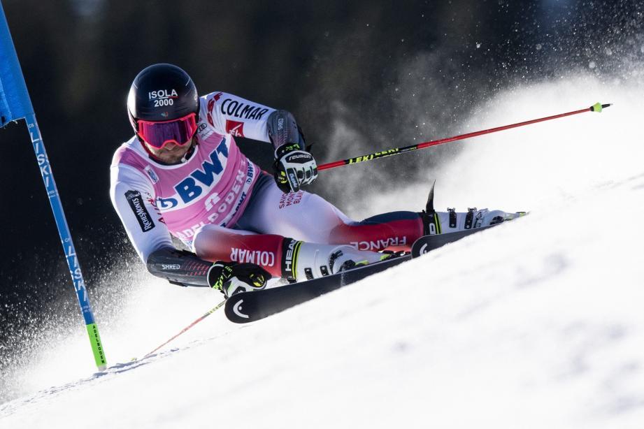 Mathieu Faivre lors de la première manche du géant d'Adelboden, en Suisse.
