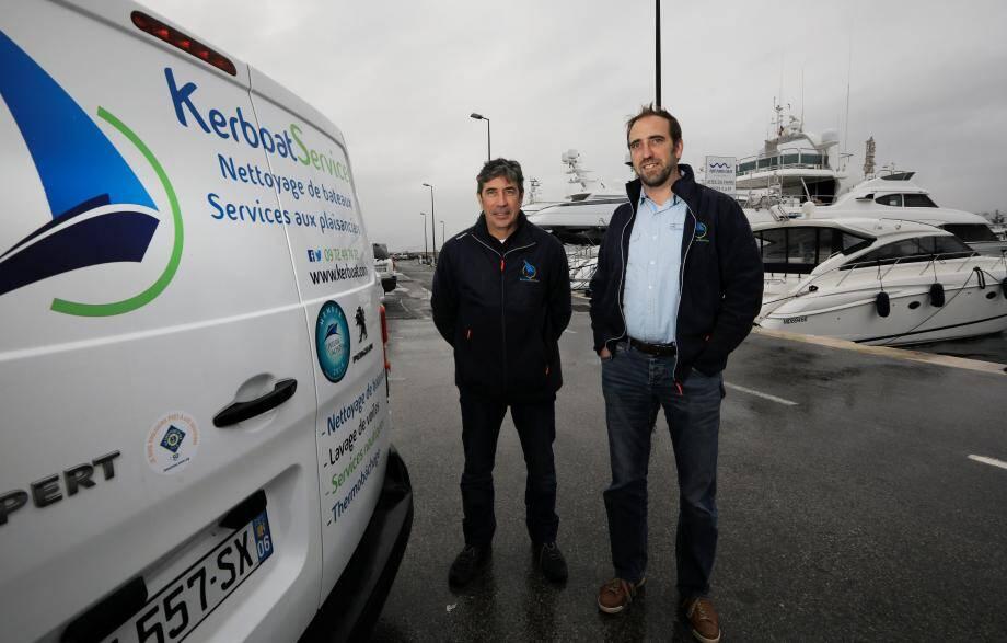 Sébastien David (à droite) avec Christian Gracia, responsable de l'agence toulonnaise. Le fondateur de Kerboat Services a créé un logo spécifique pour son activité yachting.