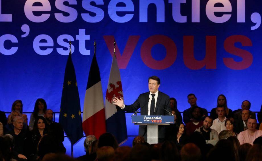Christian Estrosi lors de son premier meeting de campagne.