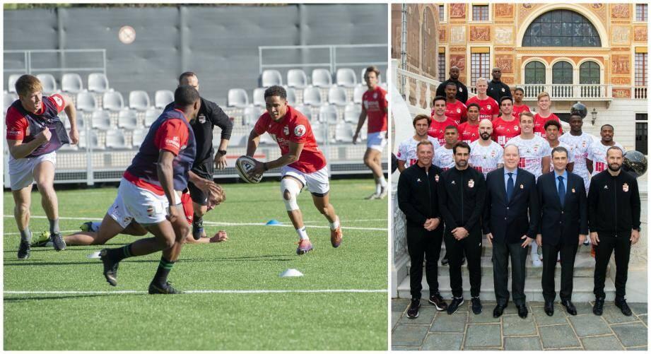 Au stade Prince héréditaire Jacques, à Beausoleil, les hommes du Monaco Rugby Sevens ont répété leurs gammes en vue de l'échéance de samedi. Le groupe a été reçu par le prince Albert II, au Palais princier, qui soutient le projet depuis sa genèse.