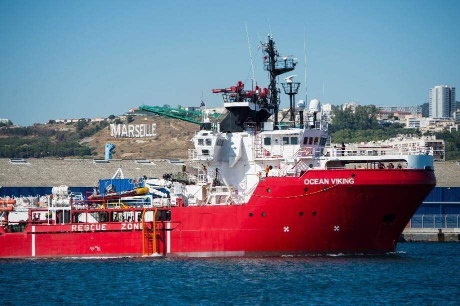 Le bateau Ocean Viking dans le port de Marseille, le 29 juillet 2019