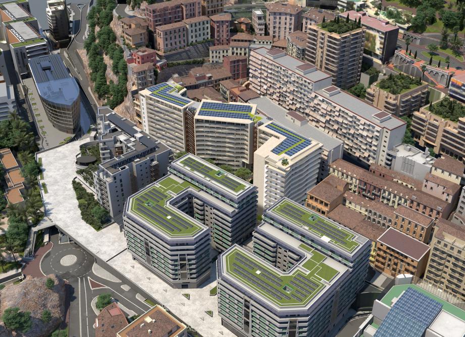 Trois immeubles de douze étages vont se dresser derrière les Jardins d'Apolline et L'Hélios pour créer notamment 159 appartements. (Photomontages gouvernement princier - Architecte F. Génin)